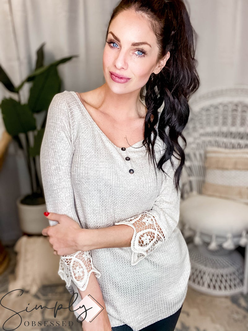 A.gain - Lace Detail Sleeve Wide Neckline Ribbed Fabric Top
