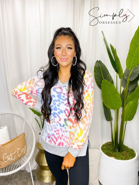 White Birch - Long Sleeve Leopard Print Knit Top