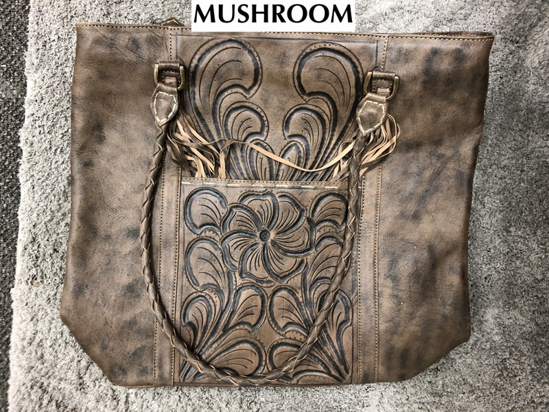LEADERS IN LEATHER - Tooled Leather Hobo Tote Tassel Handmade