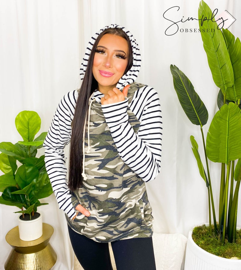 Vanilla Bay - Camo & Stripe Double Hoodie Top