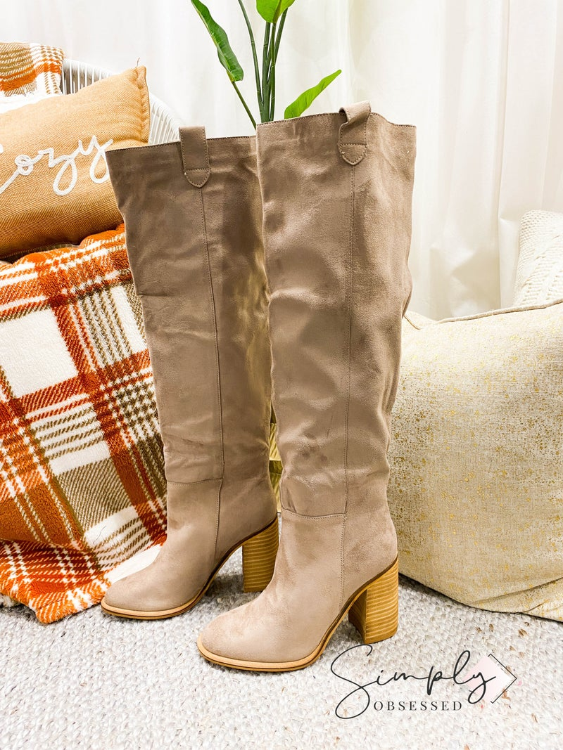 MIRACLE MILES-Box Cut Suede Block Heel Boot