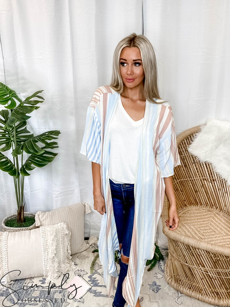 Vanilla Bay - Kimono cardigan with multi color stripe print