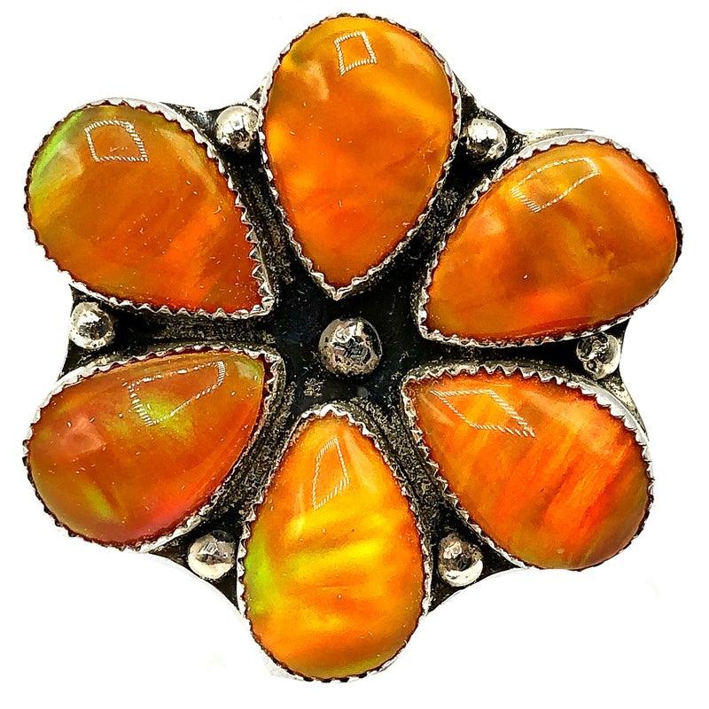 M&S - Pumpkin Orange Flower Ring