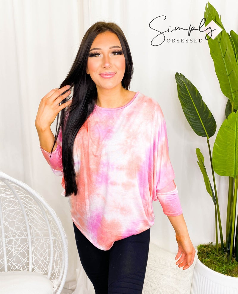 Haptics - Dolman sleeve tie dye knit top