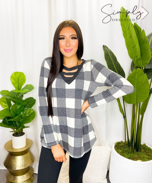 Heimish - Long sleeve plaid v-neck with criss cross chest detail