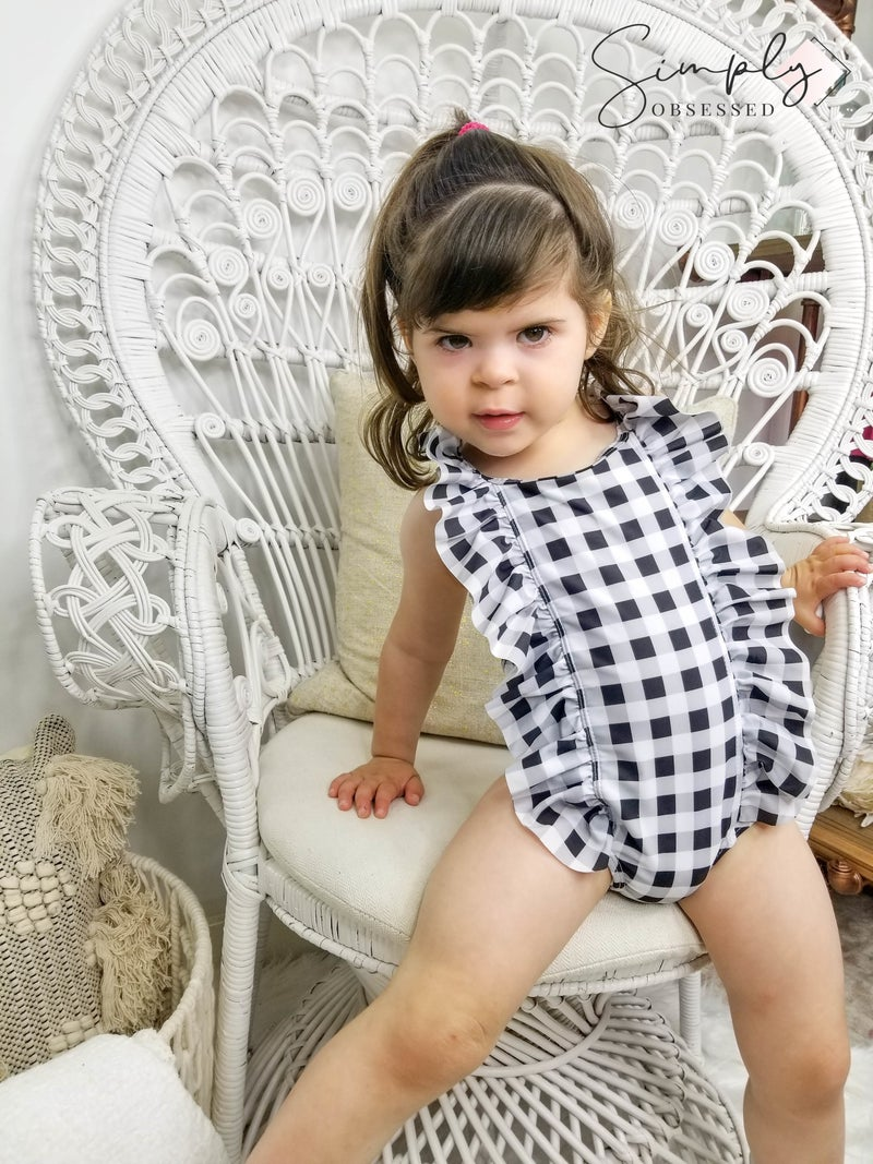 Honeydew-kids black white gingham ruffle one piece