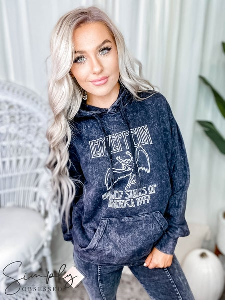 """Distressed Vintage Designs - """"Led Zeppelin"""" Mineral washed pullover graphic hoodie"""