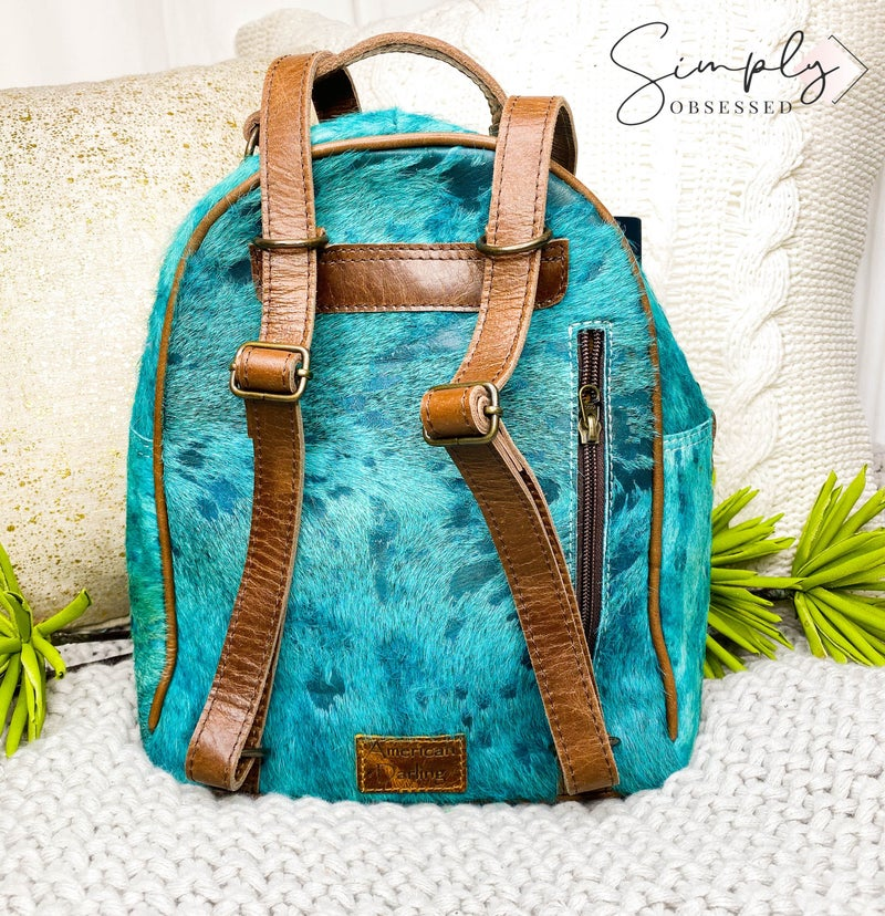 American Darling - Acid wash leather patch work back pack