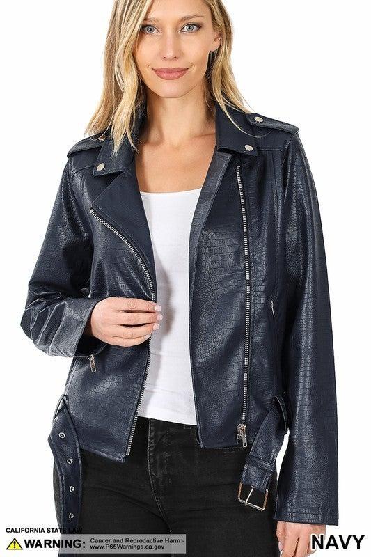 Vegan leather snake embossed belted moto jacket