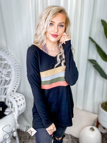 First Dibs Hailey & Co - Color block striped chest long sleeve top