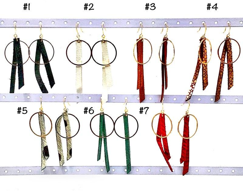 CECELIA - Leather Fringe Hoop Earrings