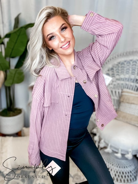Easel - Pin striped button down jacket