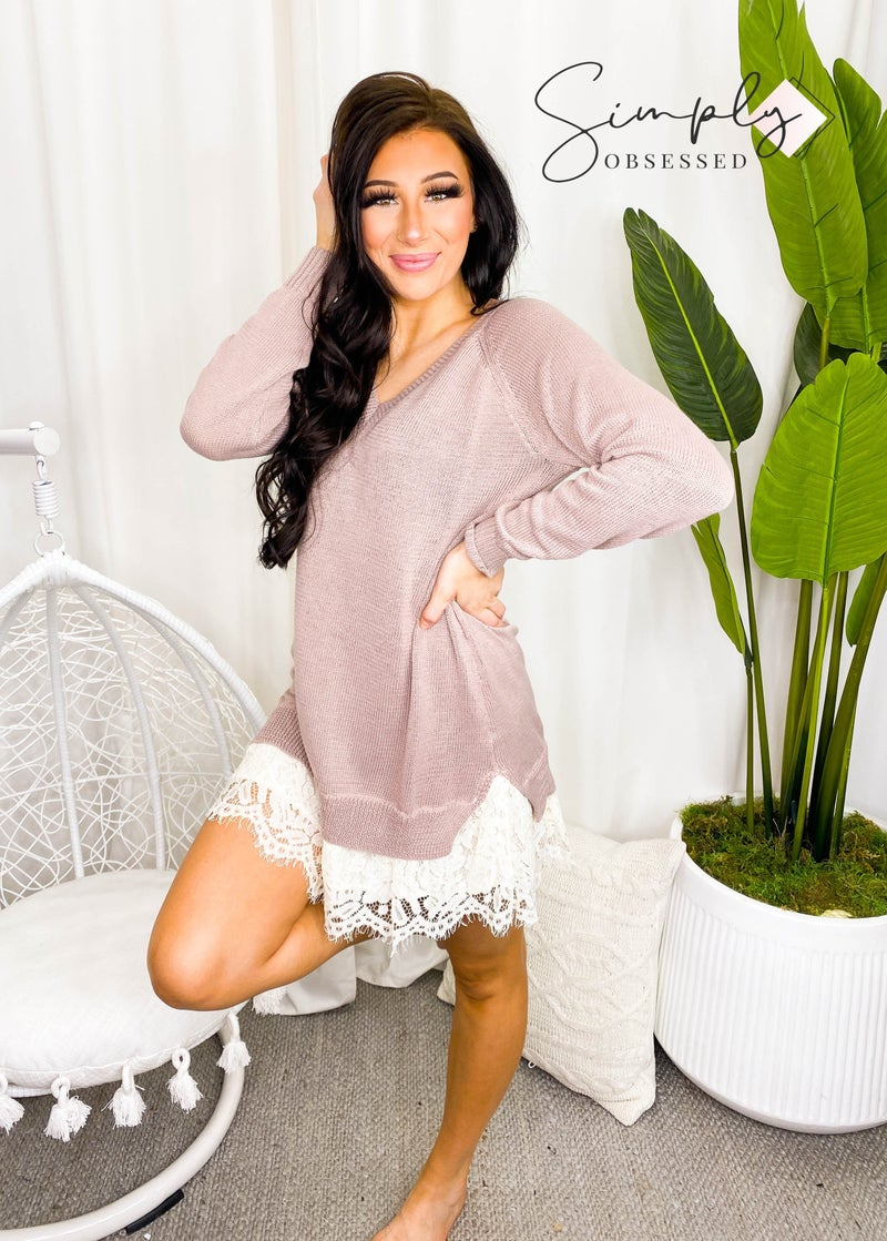 KyeMi - Long sleeve sweater dress with lace hem