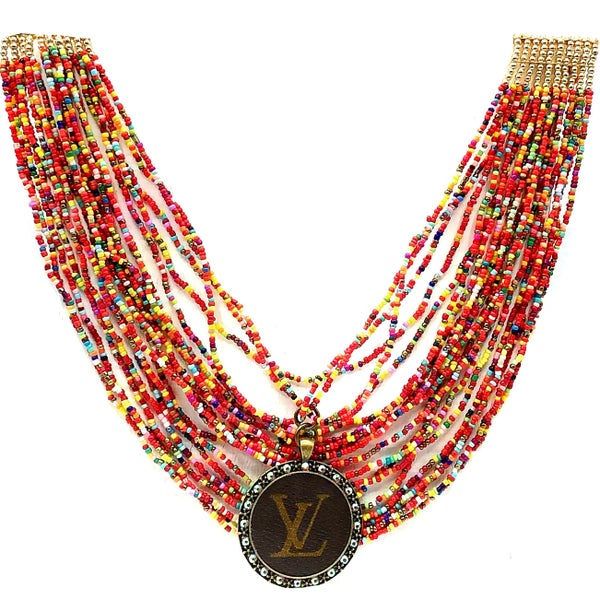 LV Up-Cycled Layered Multi Beaded Necklace
