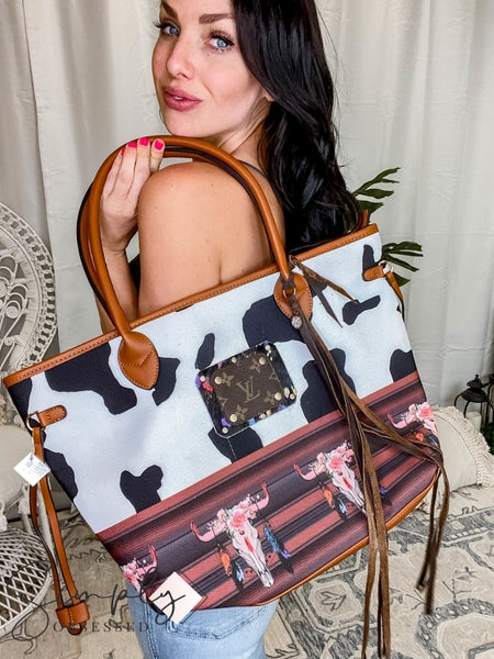 UpCycled - Animal Print w/Flower Design Tote