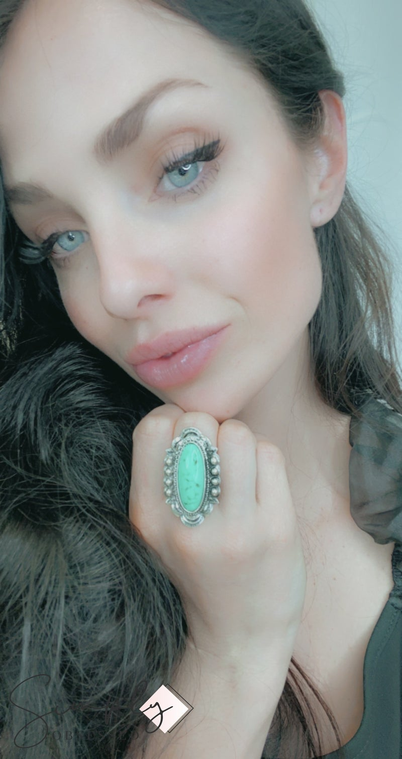 FAIRE - Western Oval Natural Stone Cuff Ring