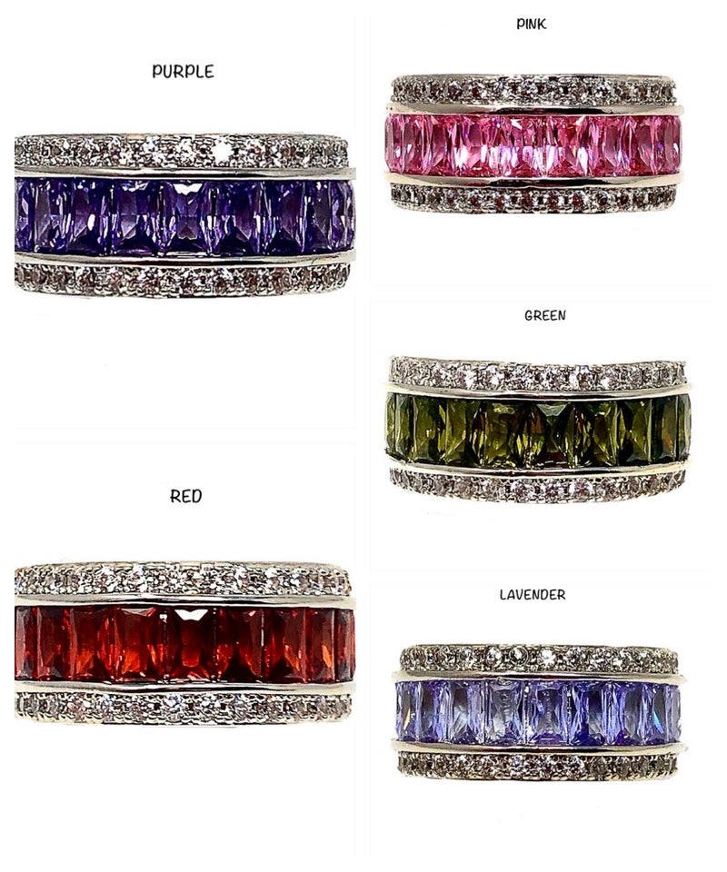 Thick Colorful Baguette Ring w/ CZ Stones