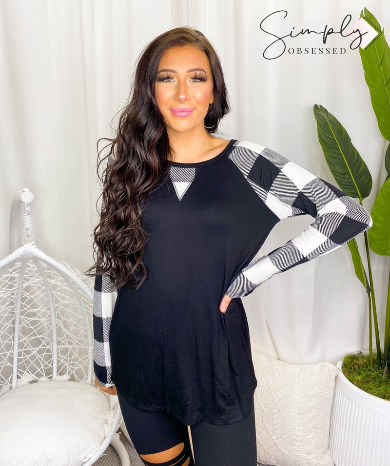 Heimish - Long Sleeve Solid and Plaid Print Contrast Top