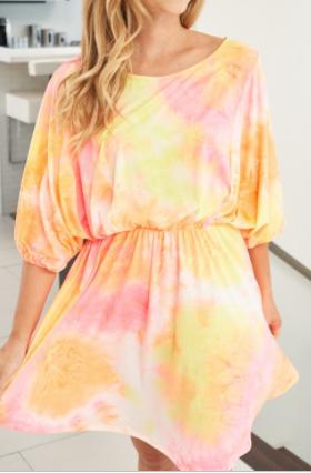 White Birch - Short sleeve tie dye knit dress with elastic waist band(plus)