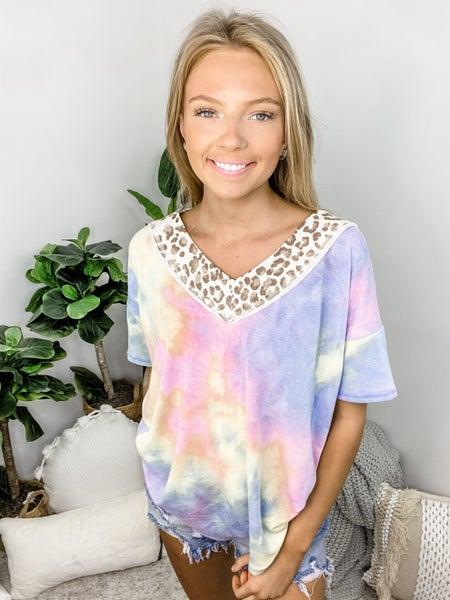 7th Ray - tie dye v neck top