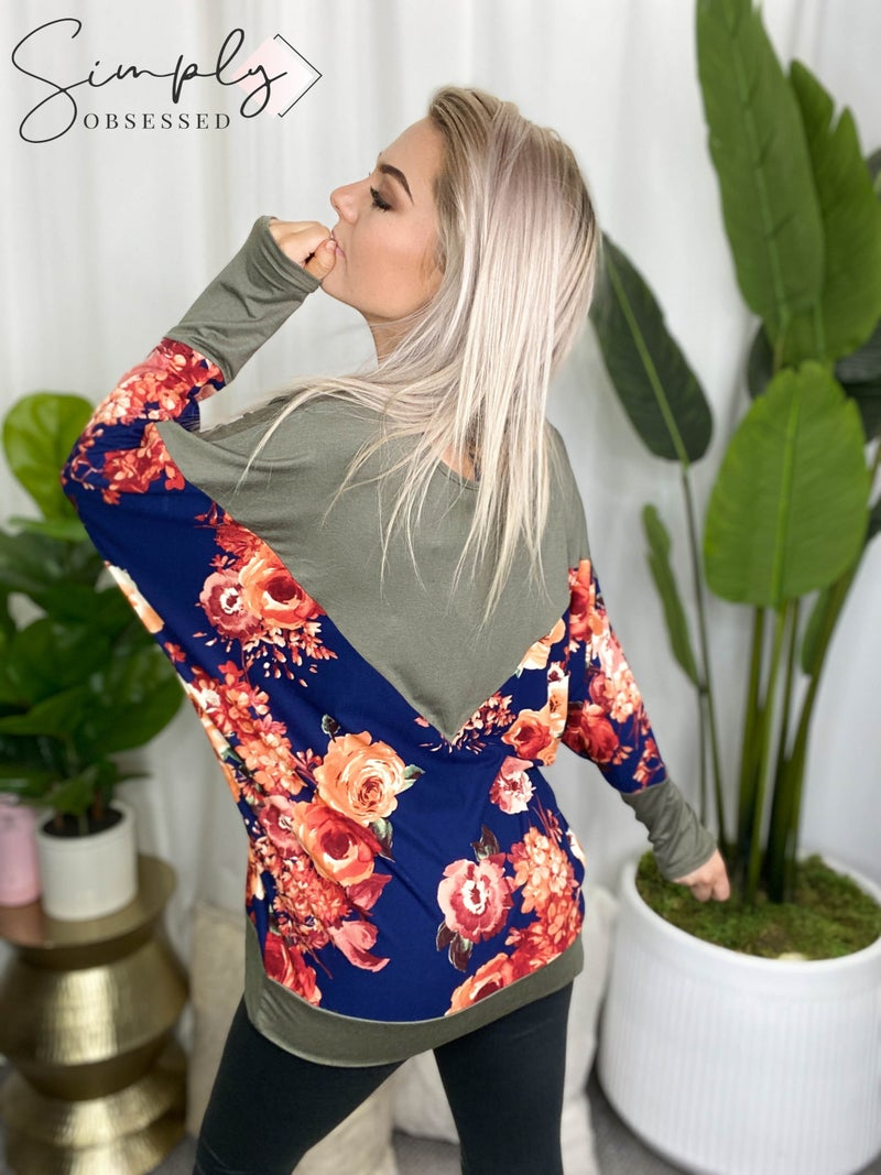 A.Gain - Partially floral printed long sleeve boat neck top(All Sizes)