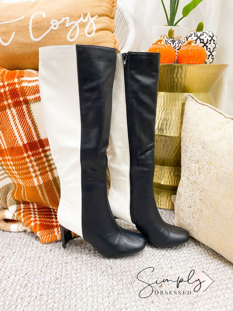 BAMBOO-KNEE HIGH BOOTS WITH THIN HEEL