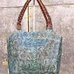 Leaders In Leather - Tooled hobo braided handle bag