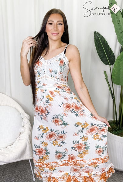 POL Soft White Floral Dress with Zip Up Back