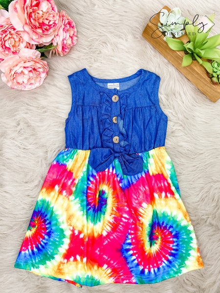 Honeydew-denim bow front tie dye dress