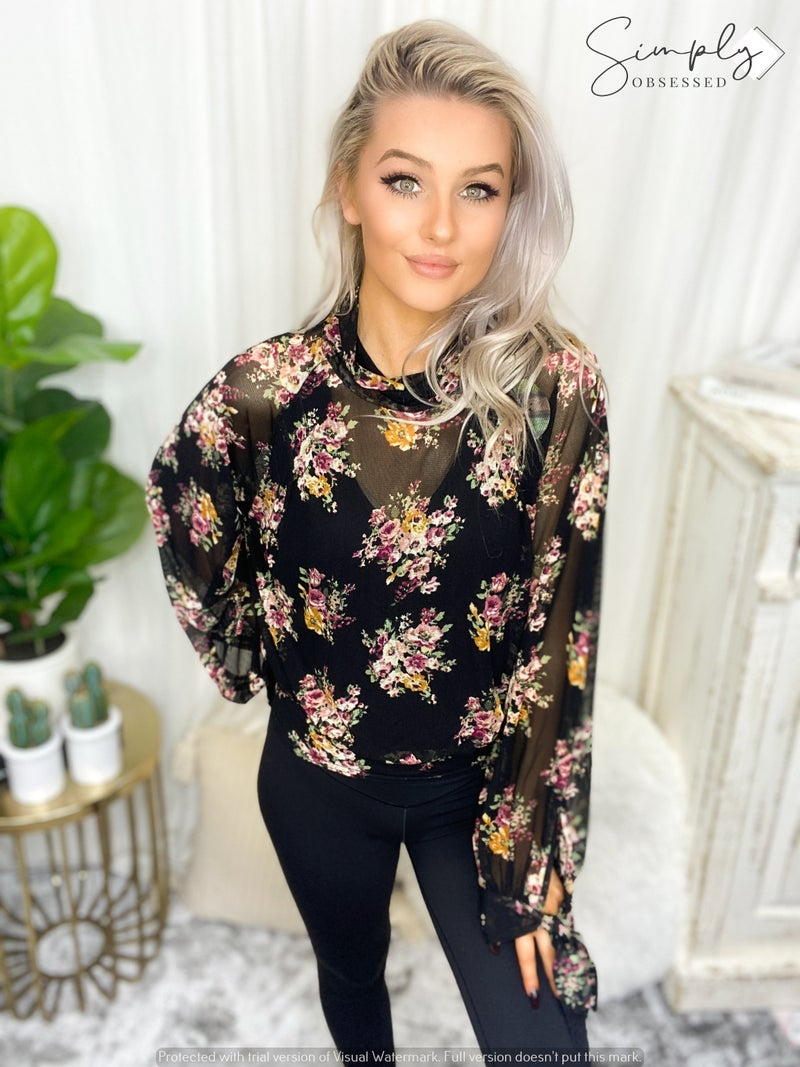 Kye Mi - Floral sheer mock-turtle neck blouse