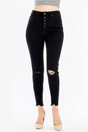 KanCan - High rise cropped distressed skinny jeans