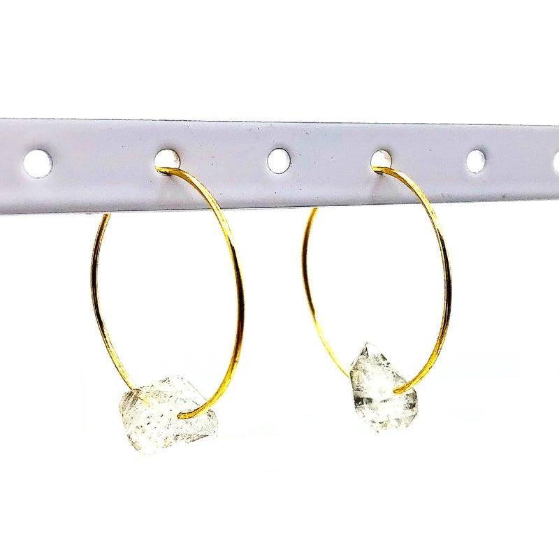 Gold Hoop Crystal Earrings