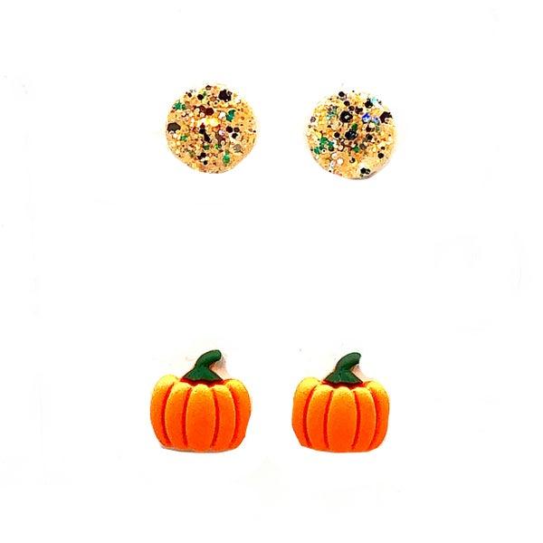 Pumpkin Glitter Stud