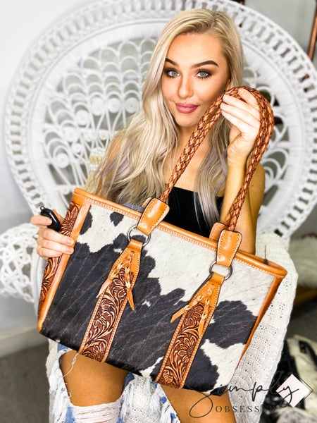 American Darling - Hand crafted leather work floral carved bag