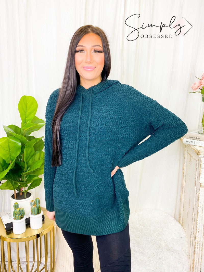 Hooded long sleeve popcorn sweater with side slits