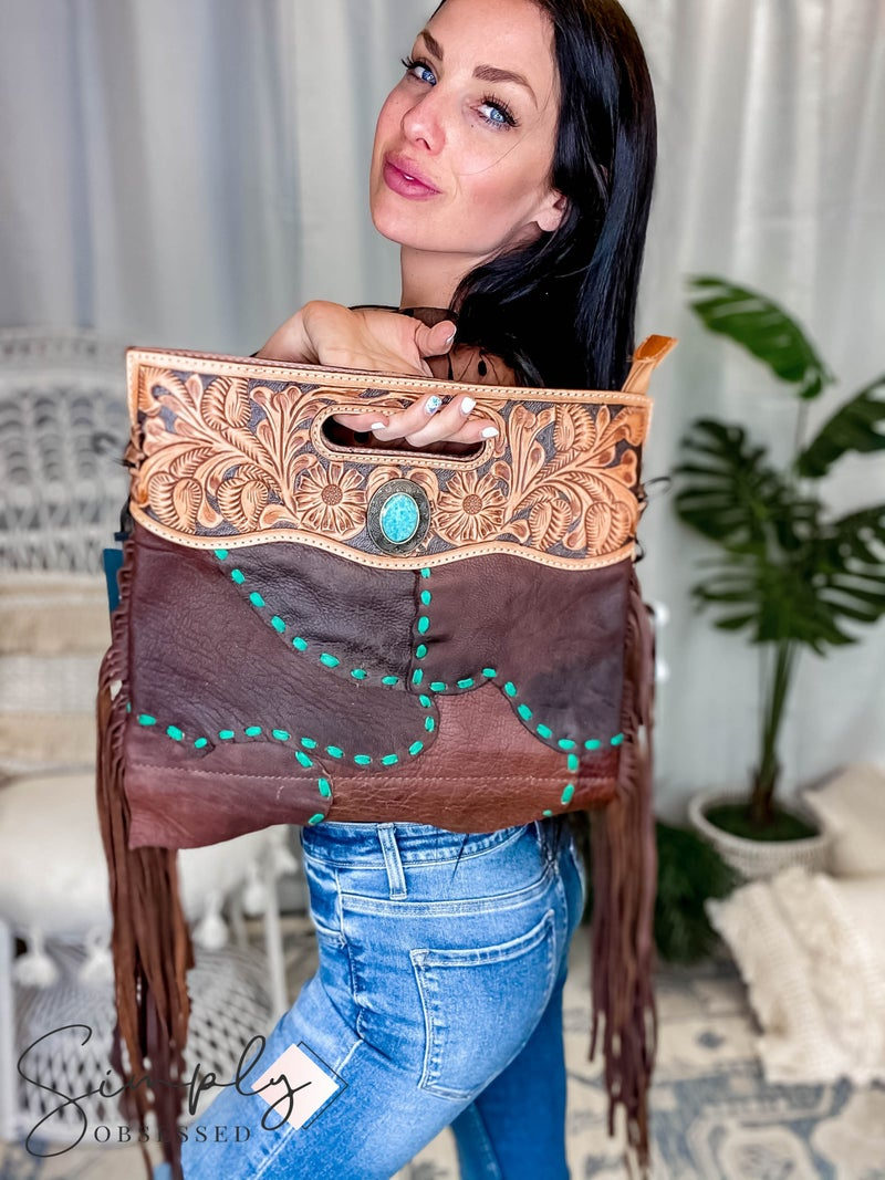 American Darling - Hand Carved Gypsy Patch Crossbody Bag w/Turq Stone Detail and Fringe