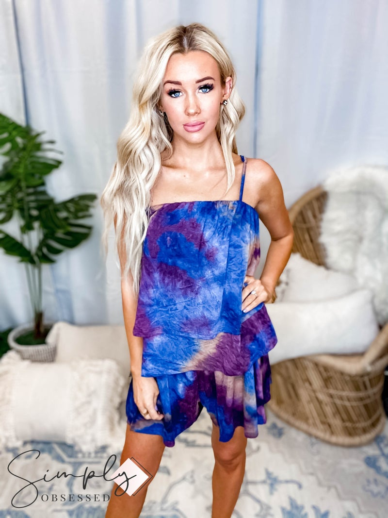 Kori - Double Tiered, Tie Dye Cami Top with Adjustable Straps and Relaxed Fit Shorts Set