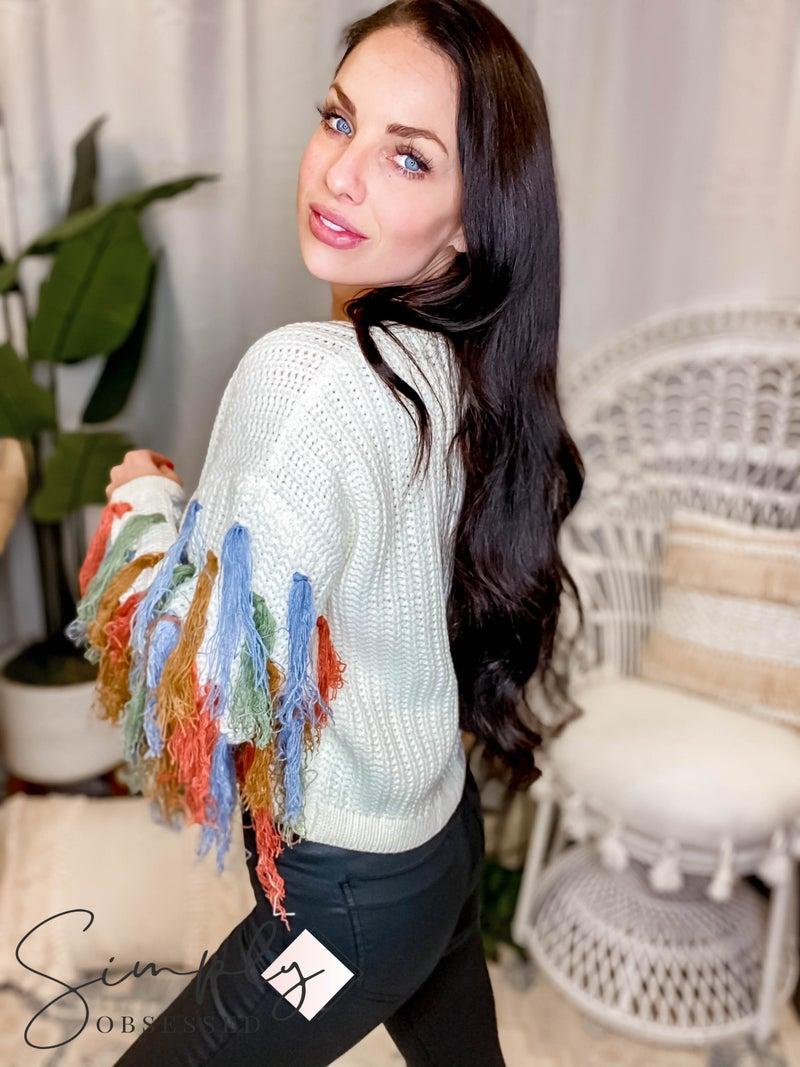Blue B - Multi Color Fringe Sleeve Sweater Top