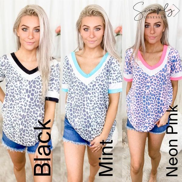 BIBI-Leopard Print Soft Knit Top With Contrast Block