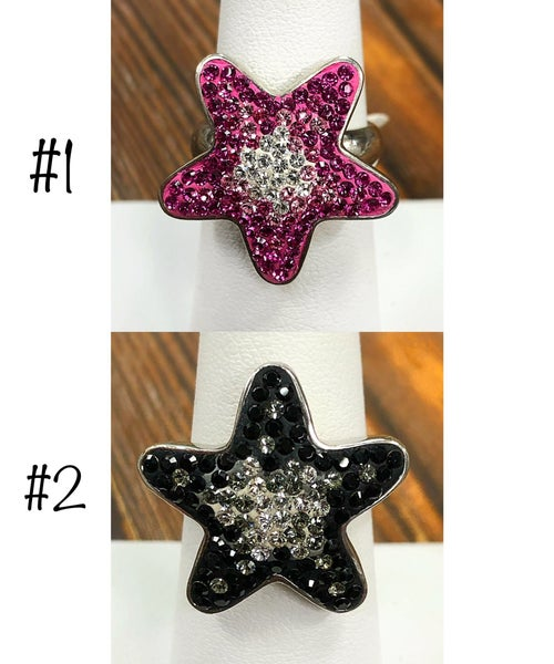 colorful star shaped pave crystal ring