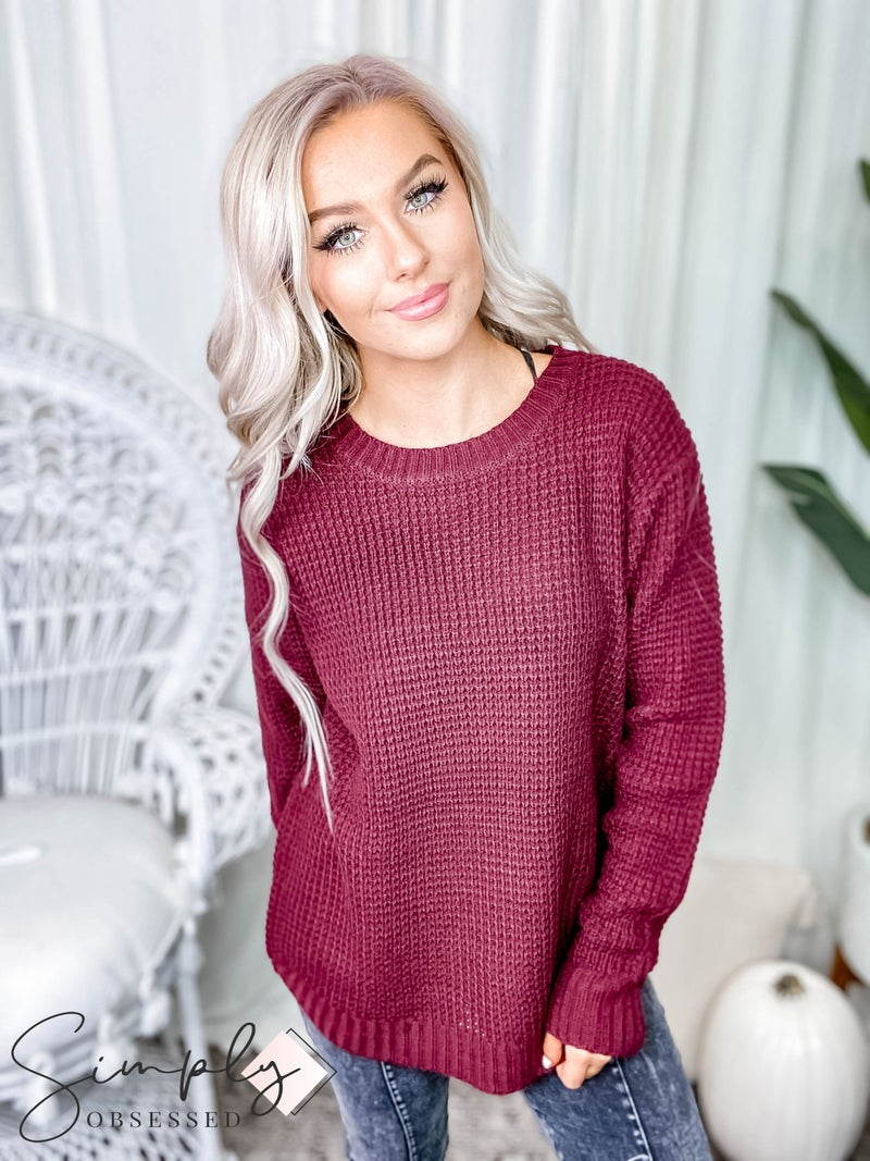 (Black Friday) Hi-low Long Sleeve Round Neck Waffle Sweater
