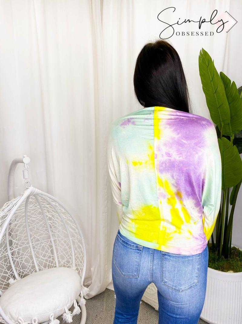 White Birch - Long sleeve tie dye knit top w/ boat neck