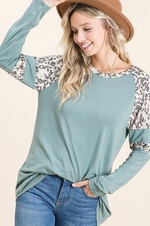 Vanilla Bay - Long sleeve leopard print contrast top