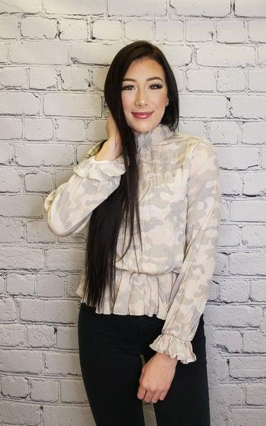 White Birch - Long sleeve camo woven top