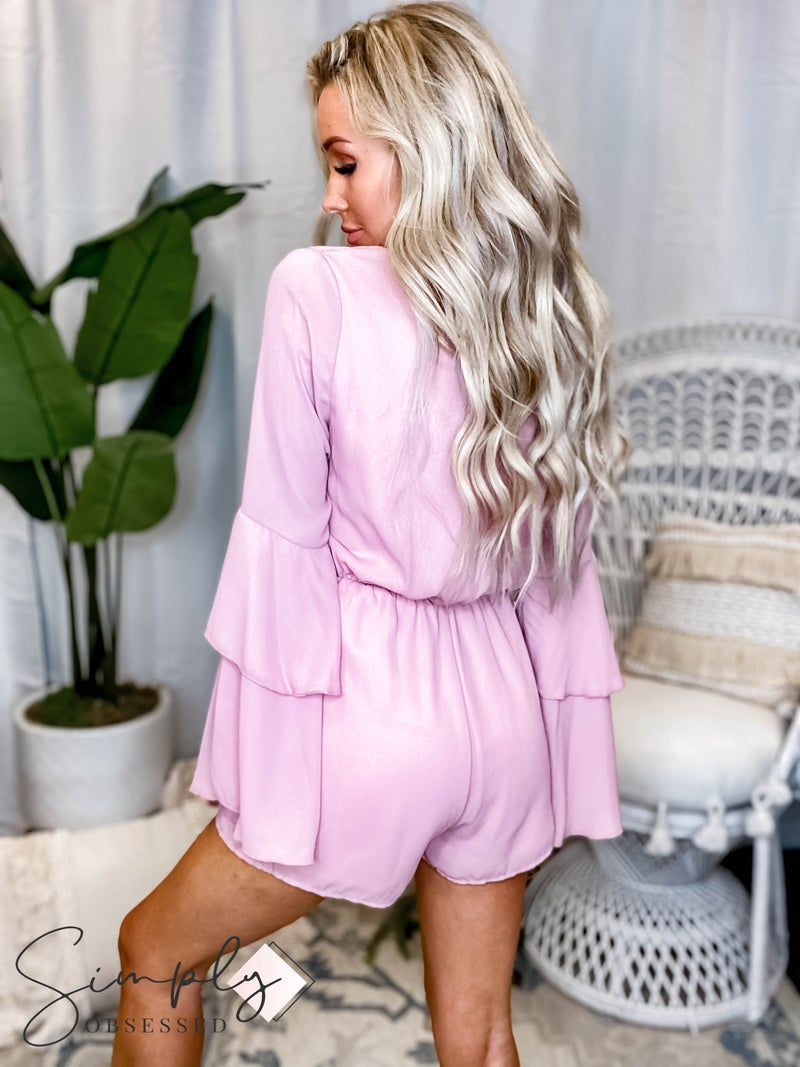 Peach Love California - Long sleeve v neck romper