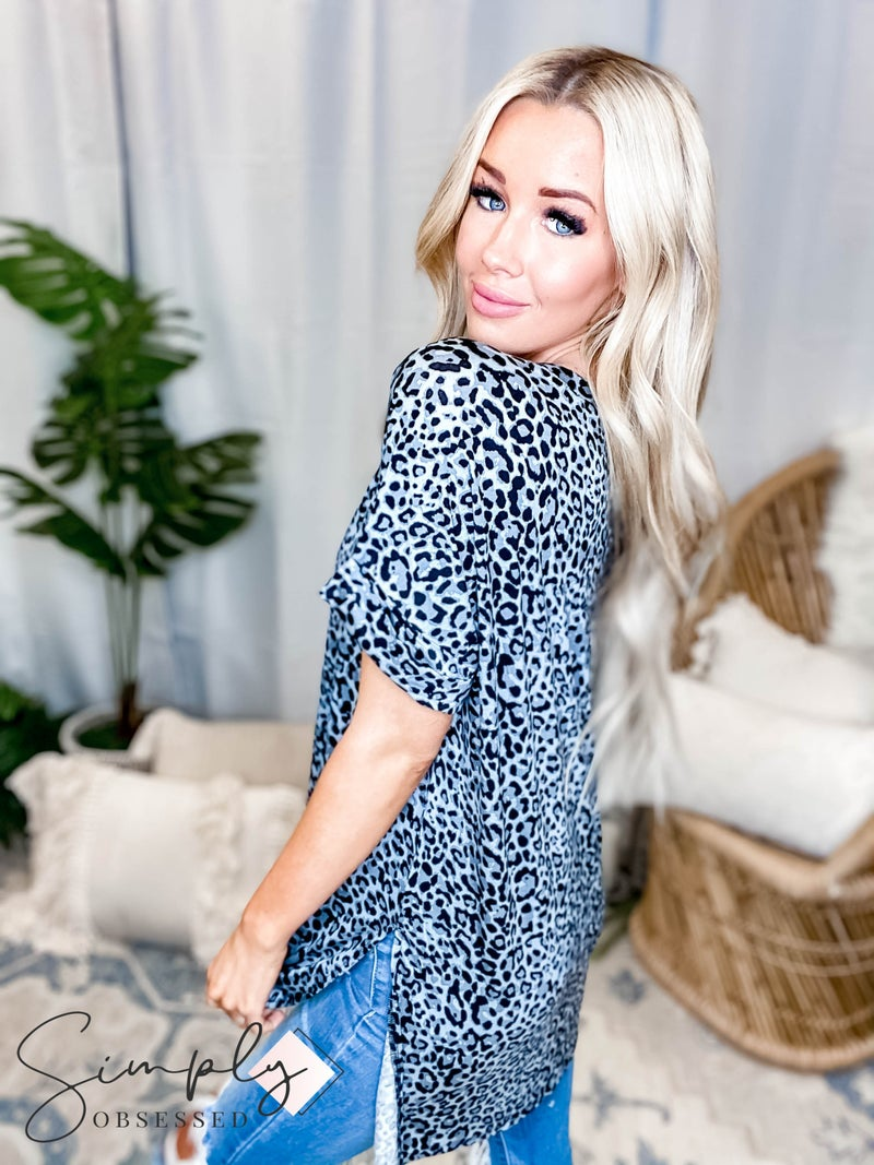 Leopard print rolled short sleeve v neck top(All Sizes)