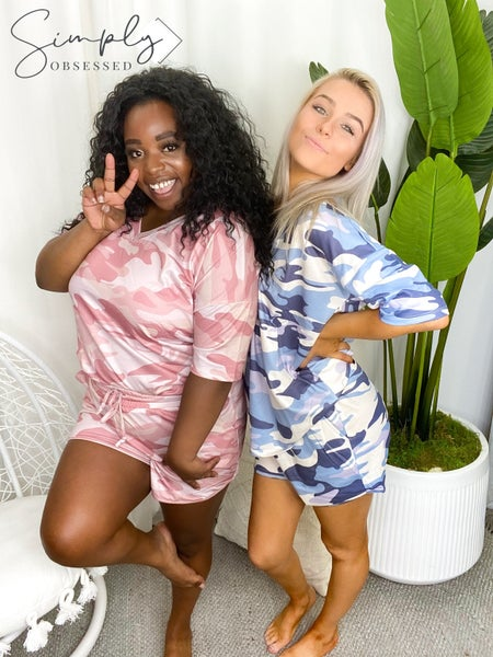 Blue B-Soft Camo Shorts and Shirt Set