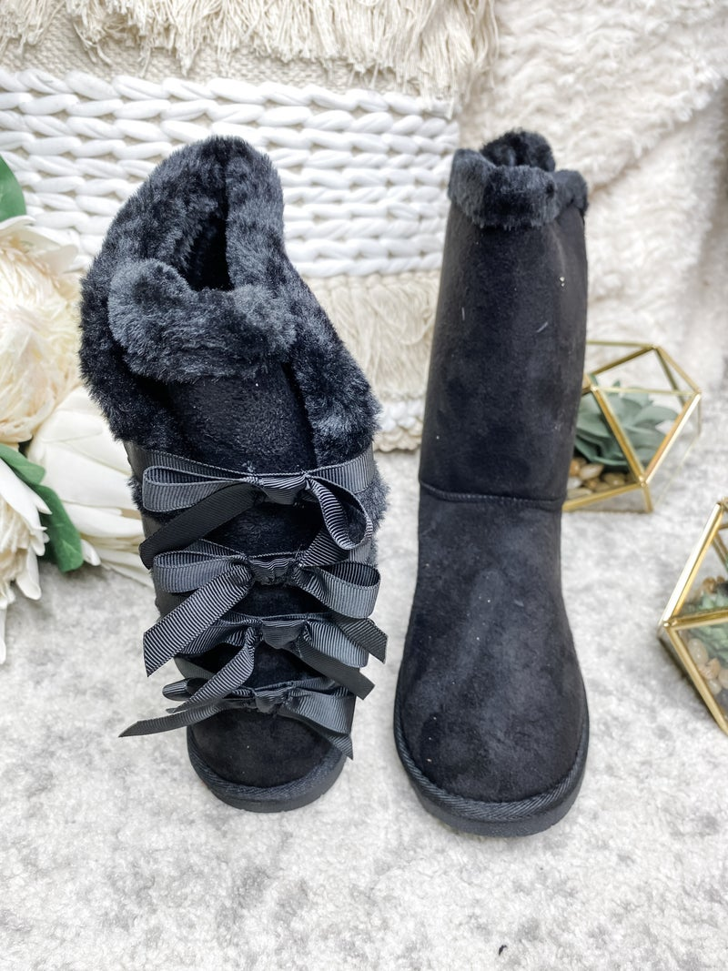 FOREVER-ROUND TOE FAUX FUR BOWS ON THE BACK BOOTS