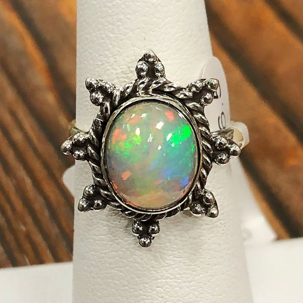Oval shaped Ethiopian ring with sunburst setting
