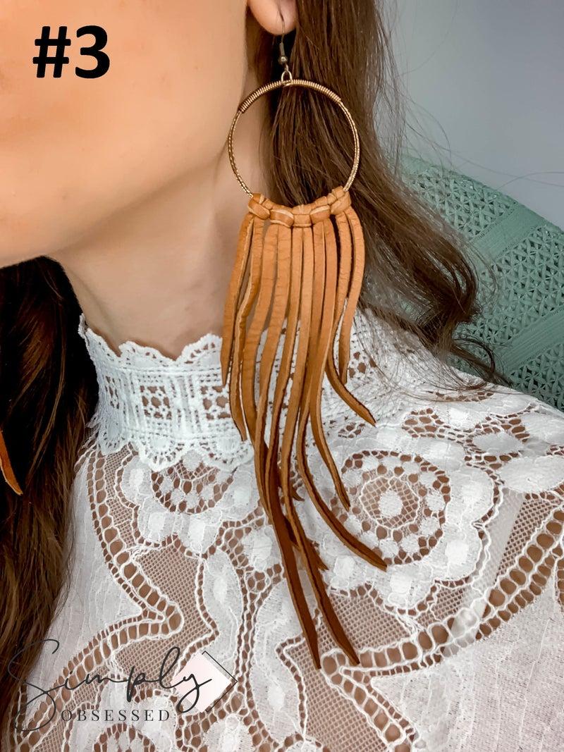 Ellison James - Woodsy Hoop Fringe Earrings